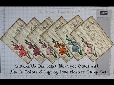 Stampin'Up One Layer Thank You card with Gift of Love & New In Colors
