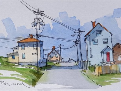 A virtual Urban Sketch of a street in Bonavista Newfoundland. A pen and wash Demonstration