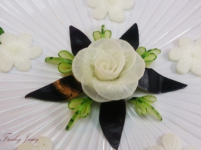 Art In Radish Rose With Cucumber & Eggplant Designs - Vegetable Flower Carving Garnish