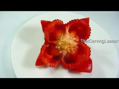 Bell Pepper Flower Carving Design 1,Lesson 13 for Beginners,แกะสลักดอกไม้จาก พริกหวาน แบบที่ 1