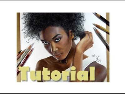 Cómo colorear piel oscura y pelo afro | How to draw dark skin (Prismacolor) | Tiguida Sissoko