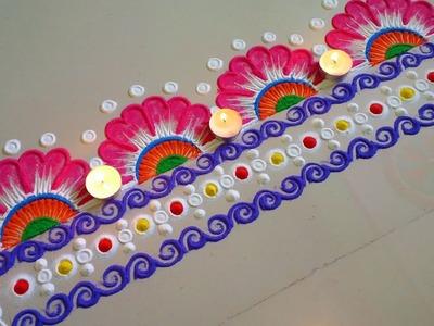 Creative and innovative easy rangoli border design.by DEEPIKA PANT