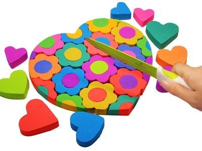 DIY How To Make Kinetic Sand Lollipops Rainbow Heart vs Flower For Kids - Learn Colors For Children