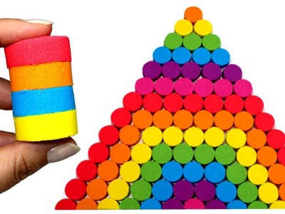 DIY How to Make Kinetic Sand Rainbow Pyramid Learn Colors Kinetic Sand Lego Brick Cake for Kids