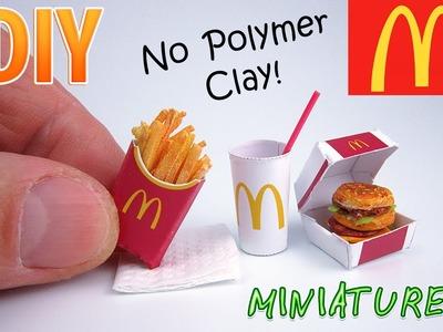 DIY Miniature McDonald's Food Menu | DollHouse | No Polymer Clay!