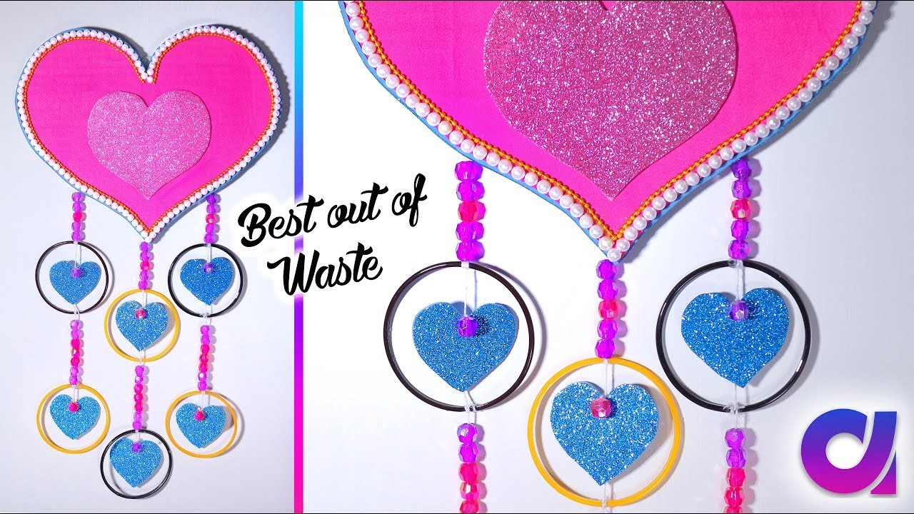 Diy wall hanging decor from waste broken bangles wall for Craft using waste bangles