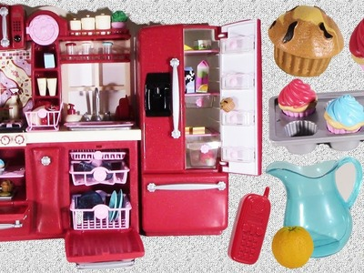 Doll GOURMET KITCHEN & Refrigerator TOYS! Perfect for AG DOLLS! Baking Cupcakes & Accesories!