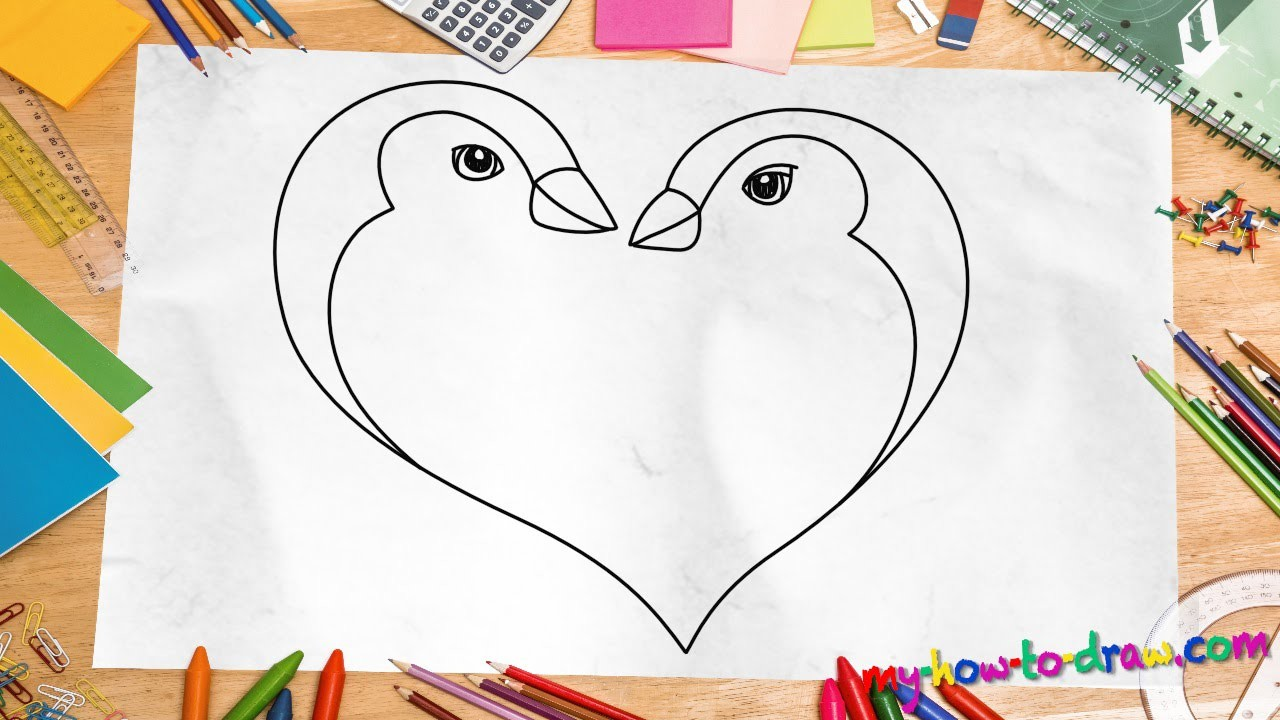 How to draw a Penguin Love Heart - Easy step-by-step ...