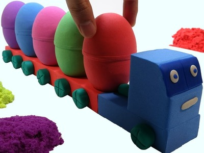 Learn Colors Kinetic Sand Cars Surprise Egg Surprise Toys For Kids - DIY How To Make For Children