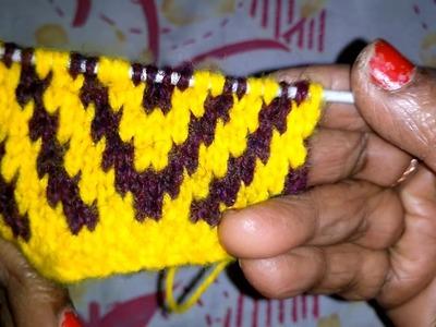 Learn Handmade V Shape Stitch Pattern Sweater Design  {हिंदी में}