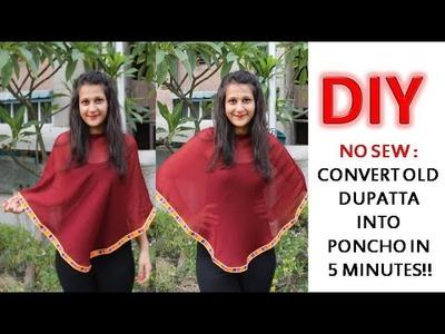 No Sew DIY: Convert Old Dupatta into a Poncho in 5 minutes | Shirin Talwar
