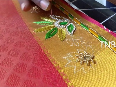 Simple maggam work blouse designs | hand embroidery tutorial for beginners, basic embroidery designs