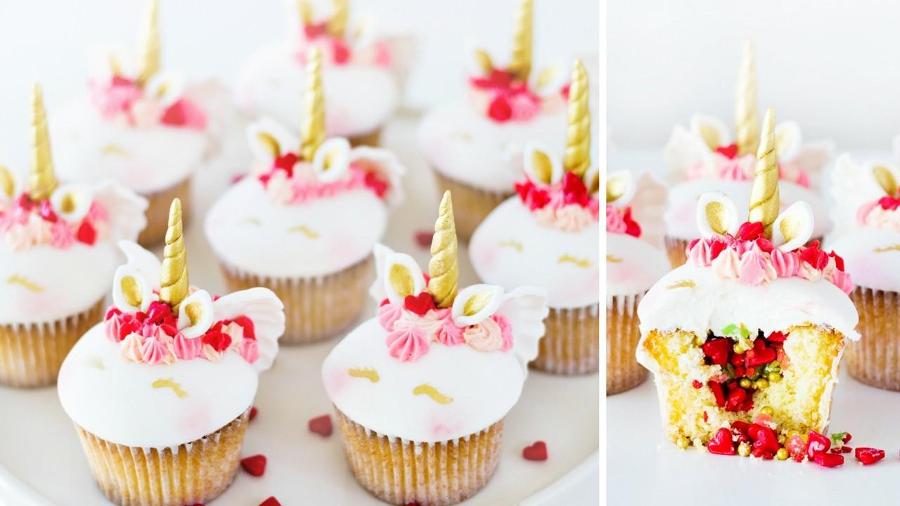 UNICORN CUPID CUPCAKES With Pop Rock Pinata Surprise | Valentines Treats How To Tutorial DIY