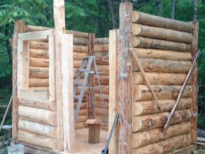 10' x 8' Log Cabin Episode 12 - Finishing The Walls