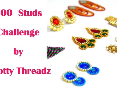 100 Studs Challenge Taken by Knotty Threadz   Part 1   Made out of Paper and Canvas   Handmade  