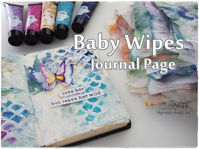 Baby Wipes Art Journal Page Process ♡ Maremi's Small Art ♡