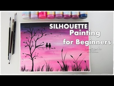 BEGINNERS Silhouette Painting Technique ♡ Basic Easy Step by Step ♡ Maremi's Small Art ♡
