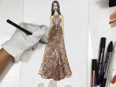 BEIGE CHIFFON DRESS WITH CRYSTALS. Elie Saab   Fashion Drawing