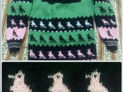 DESIGN-55 Easy Peacock design on baby sweater in Hindi(मोर का डिज़ाइन हिंदी में)