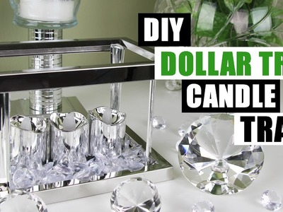 DIY DOLLAR TREE GLAM CANDLE TRAY Dollar Store DIY Candle Holder Bling Display DIY Glam Room Decor