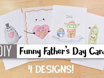 DIY Funny Father's Day Cards Easy – 4 Cute Puns. Card Ideas For Dad !