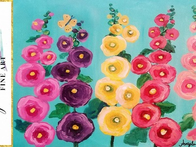 EASY Hollyhocks Floral Acrylic Cotton Swabs Painting Tutorial for Beginners LIVE