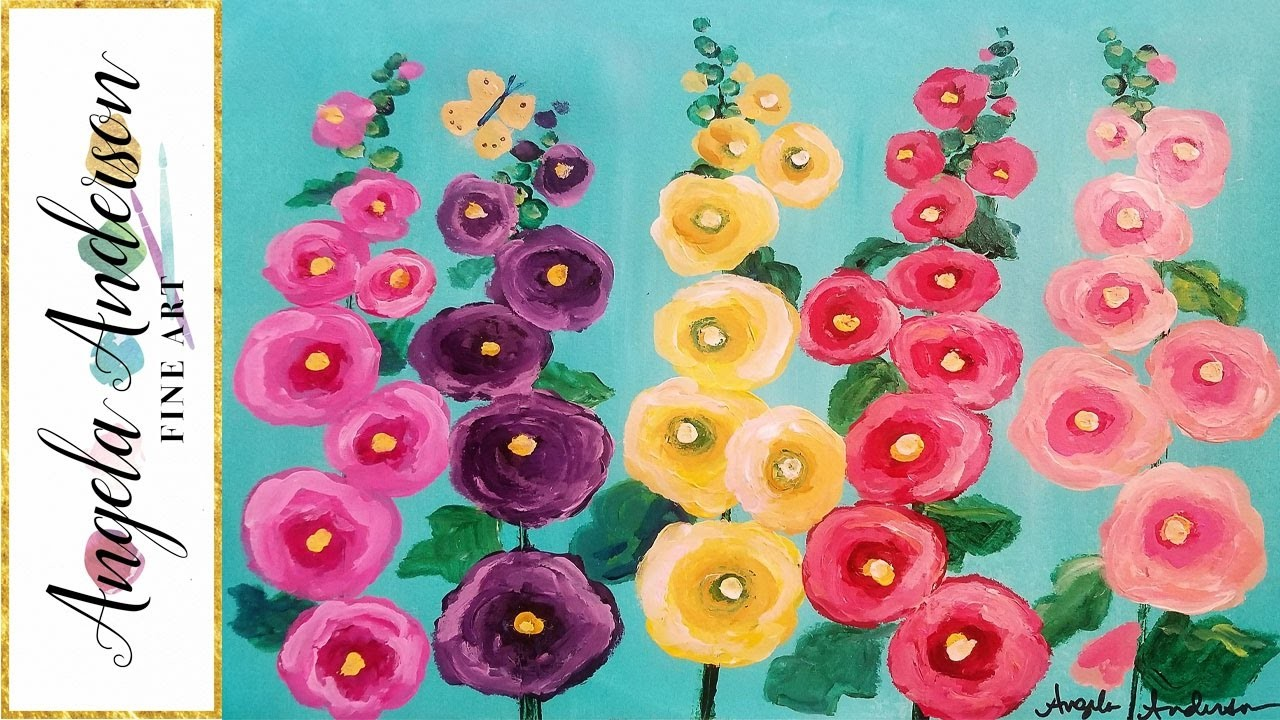 Easy Hollyhocks Floral Acrylic Cotton Swabs Painting