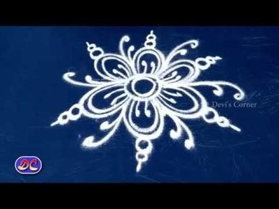 Flower Rangoli - Flower Muggulu - பூ ரங்கோலி
