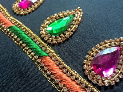 Hand embroidery designs. Aari style hand embroidery for dresses.