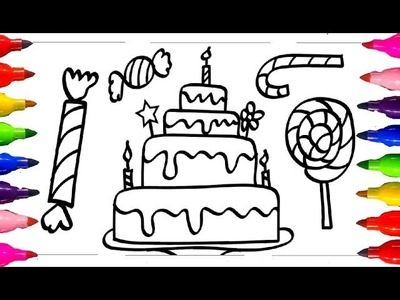 How to Draw and Color| Coloring for kids Sweet Cake,Candies,Ice Cream,Lollies Colored Markers