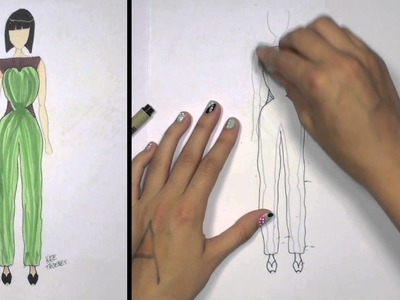 How to Draw Clothes for Beginners Fashion Designing: Green and Brown Jumpsuit | KT