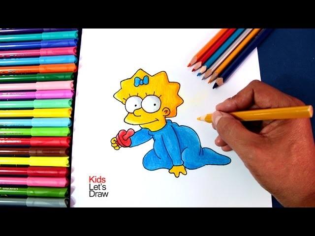 How to draw MAGGIE SIMPSON | Cómo dibujar a la bebé Maggie de Los Simpsons