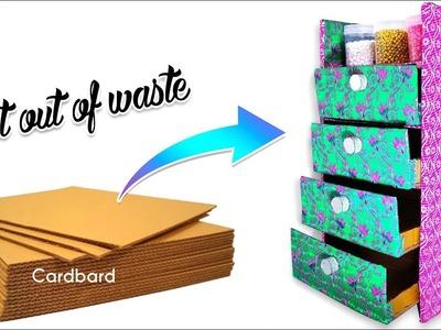 How to make desk organizer.drawer from waste cardboard | Cardboard  Crafts | Artkala 224