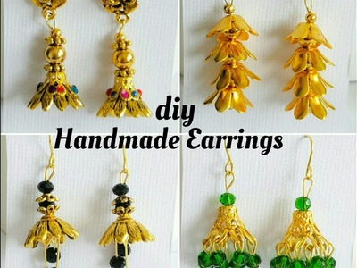 How To Make Simple Earrings With Bead Caps|Making easy earrings at home