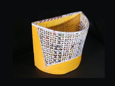 How To Make  Wall Basket With Newspaper and Cardboard | Best Out Of Waste | Newspaper Craft | DIY