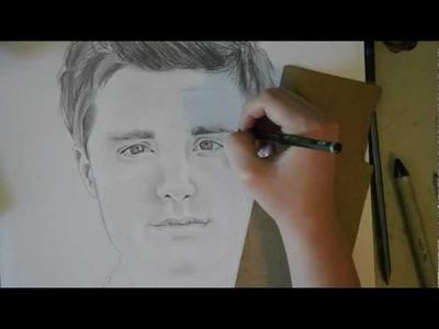 Josh Hutcherson (Peeta Mellark) speed drawing
