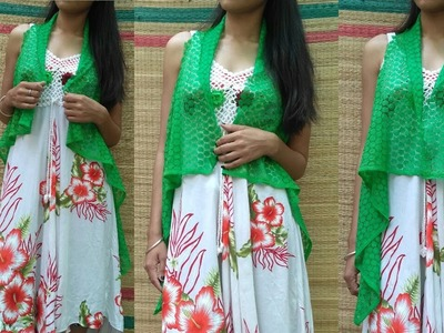 NO SEW DIY : How To Make A Lace Cardigan With Old Scarf.Reuse Scarf.Dupatta.VIEWER'S CHOICE VISHA G