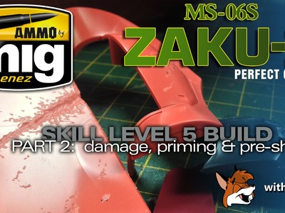 PG Zaku II Ammo of Mig Build Part 2 -  Battle Damage & Priming