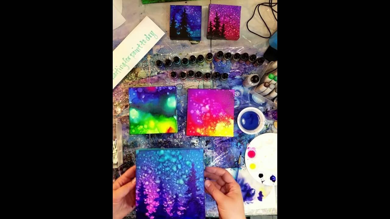 Waiting for Paint to Dry: Time lapse video of Brittainy painting with alcohol inks on canvas.
