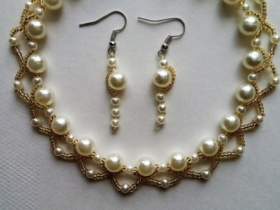 Wedding jewelry making.Pearls and seed beads necklace and earrings