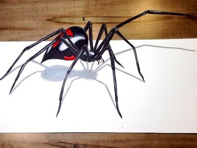 WILL IT BITE?! - Black Widow Challenge 3D Spider Drawing Trick Art