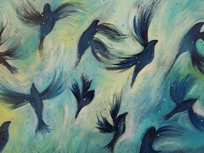 Abstract Birds in Flight Acrylic Painting Tutorial LIVE Beginner Step by Step Lesson