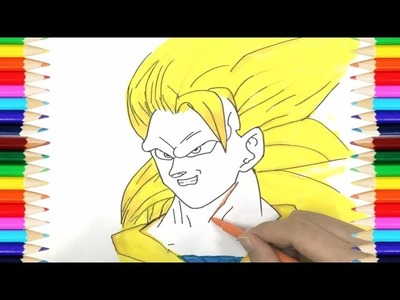 Coloring Pages Super Saiyan Dragon Ball | How To Draw Super Saiyan 3 Son Goku | Art Colors for Kids