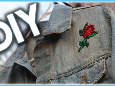 DIY CUSTOM DENIM JACKET WITH A ROSE PATCH!!!