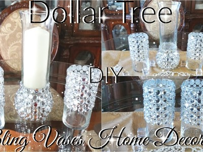 DIY DOLLAR TREE BLING VASES AND CANDLE HOLDER DECOR PETALISBLESS ????