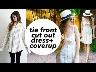 DIY tie front cut-out dress or swim cover up refashion