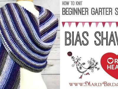 Easy Beginner Garter Stitch Bias Shawl Video 1 of 2