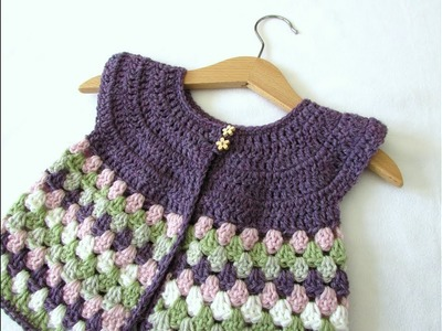 How to crochet a baby. girl's granny stripe cardigan