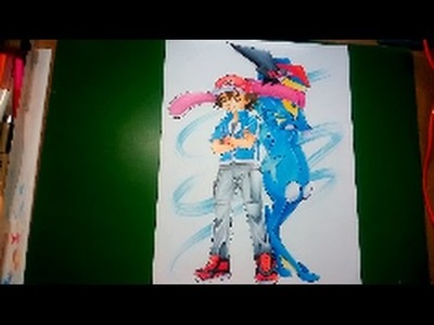 How to draw Pokemon : Speed Drawing Ash and Greninja.(Fan-Art)