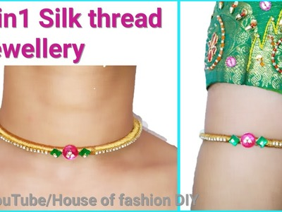 How To Make Armlet.Vanki Using Silk thread at Home  2 in 1 jewellery